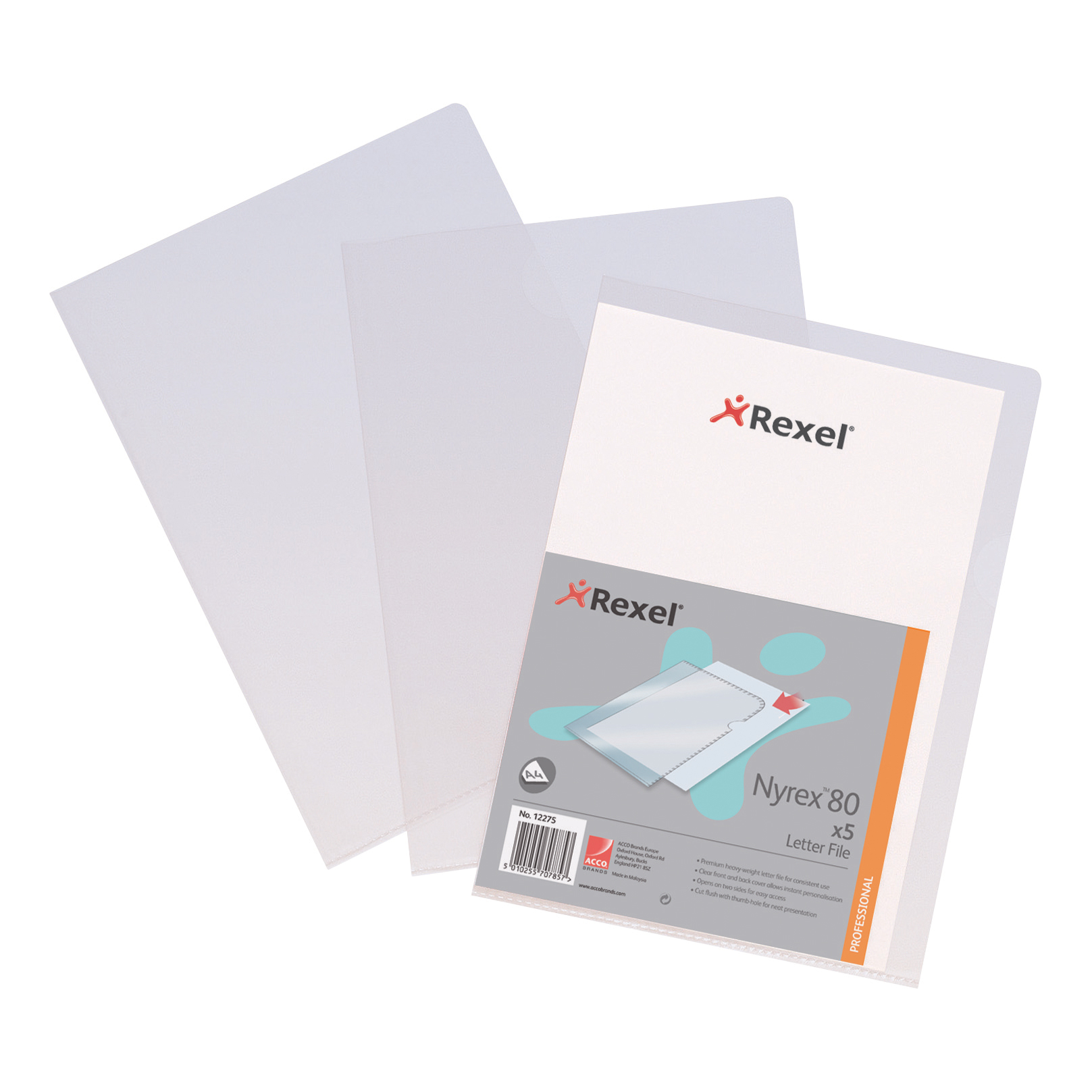 Rexel Nyrex 80 Letter File Folder Cut Flush Embossed 80/LF/A4 A4 Clear Ref 12280 Pack 25