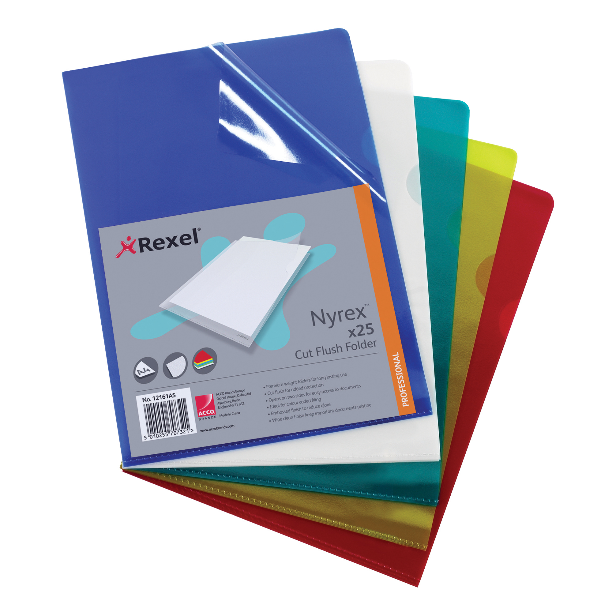 Rexel Nyrex Folder Cut Flush A4 Assorted Ref 12161AS Pack 25