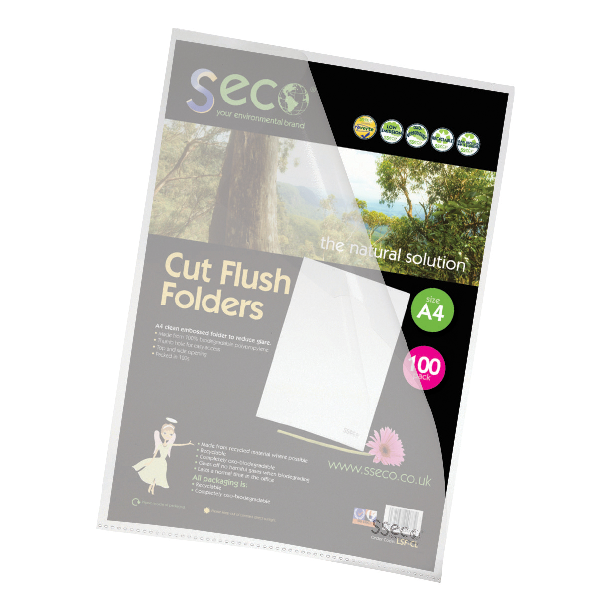 SSeco Folders Cut Flush Polypropylene Oxo-Biodegradable A4 Clear Ref LSF-CL Pack 100