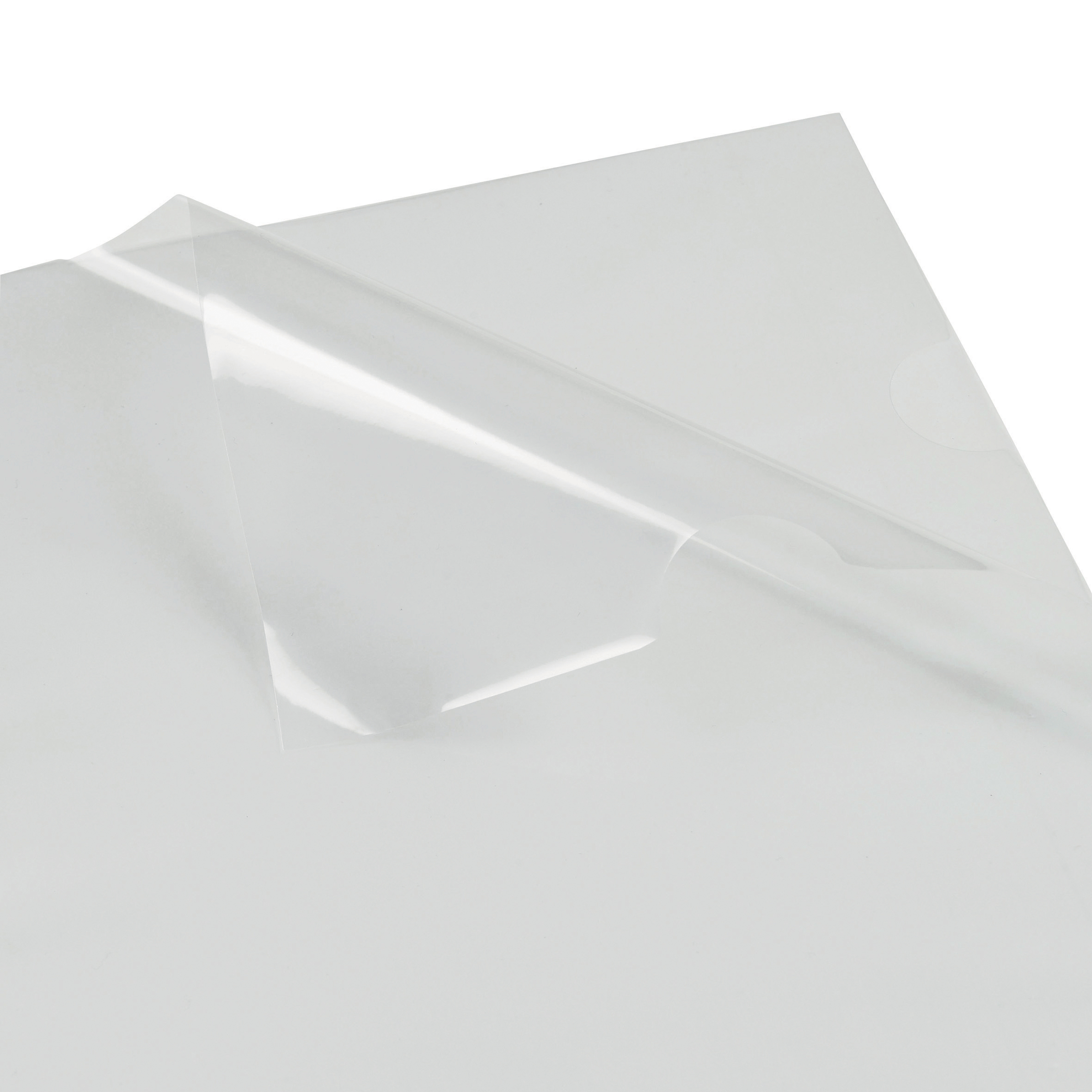 5 Star Office Folder Cut Flush Polypropylene Top and Side Opening 90 Micron A4 Glass Clear Pack 100