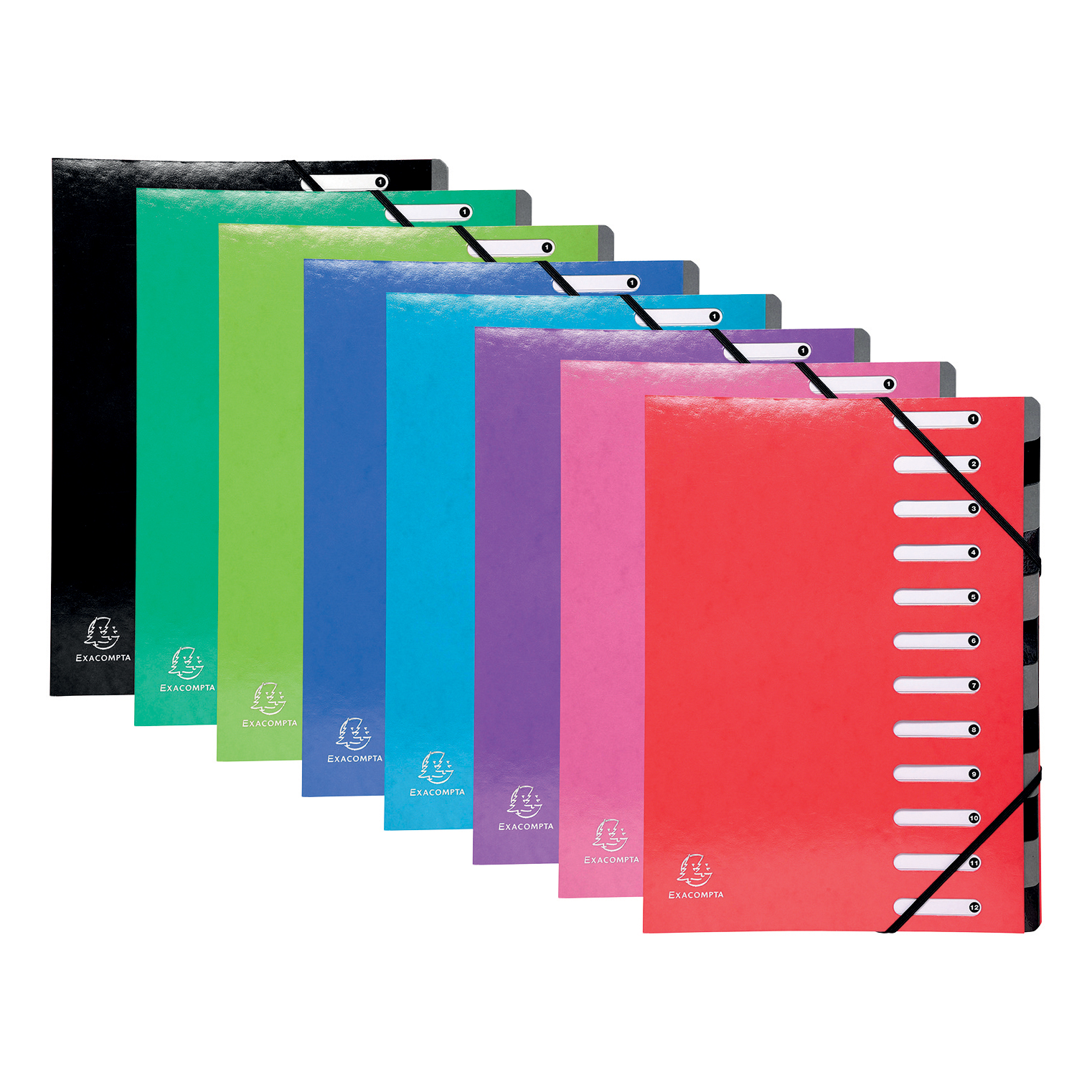 Iderama 12 Part File Premium Pressboard A4 Assorted Ref 53929E Pack 8