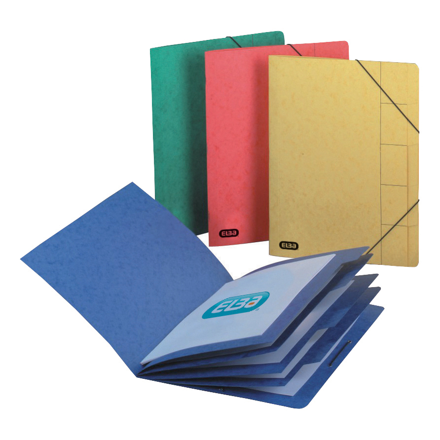 Elba Boston Part File 320gsm Manilla Elasticated 9-Part Foolscap Blue Ref 100090172 Pack 5
