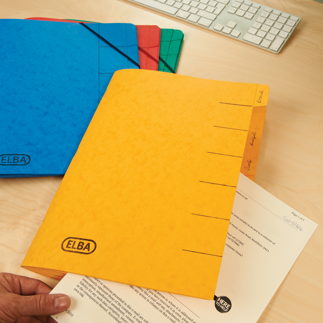Elba Boston Part File 320gsm Manilla Elasticated 9-Part Foolscap Yellow Ref 100090175 Pack 5
