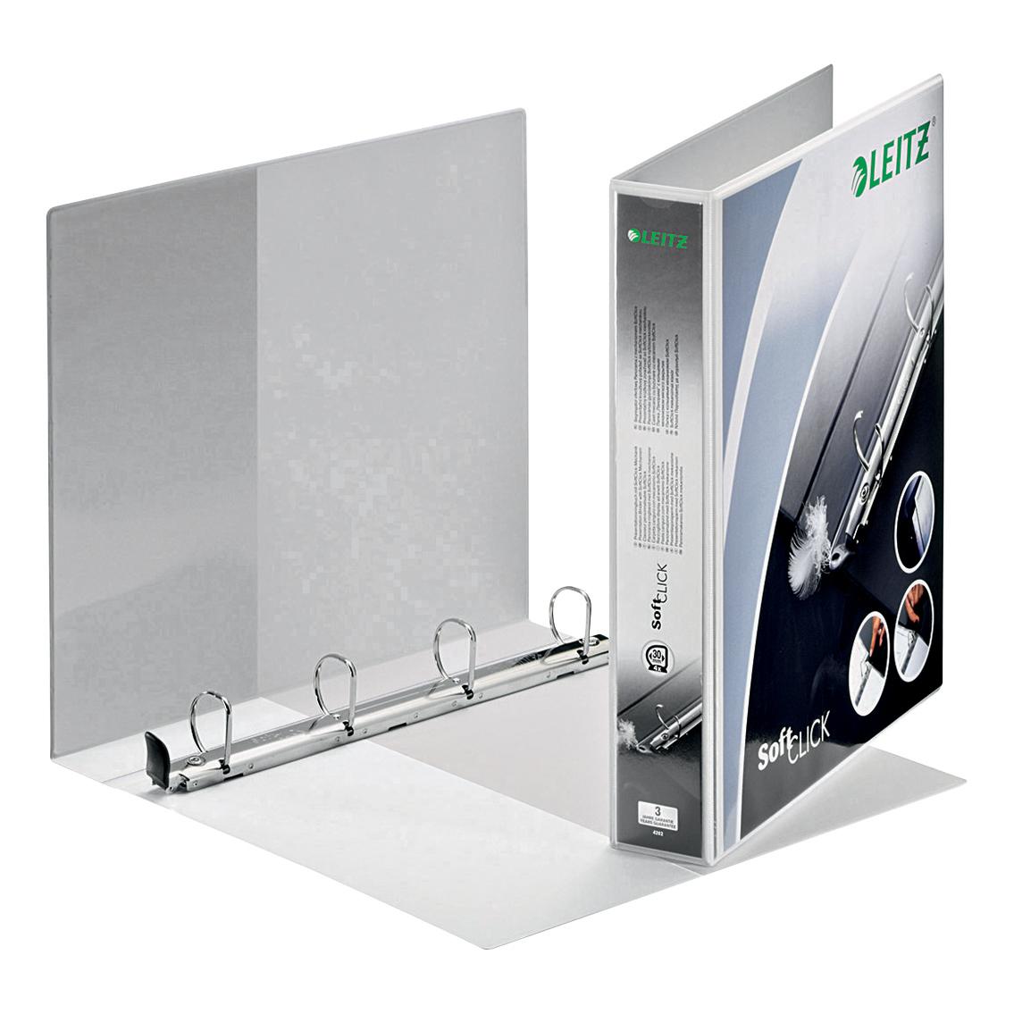 Leitz Softclick Presentation Ring Binder Polypropylene 4 D-Ring 30mm A4 White Ref 42020001 Pack 6