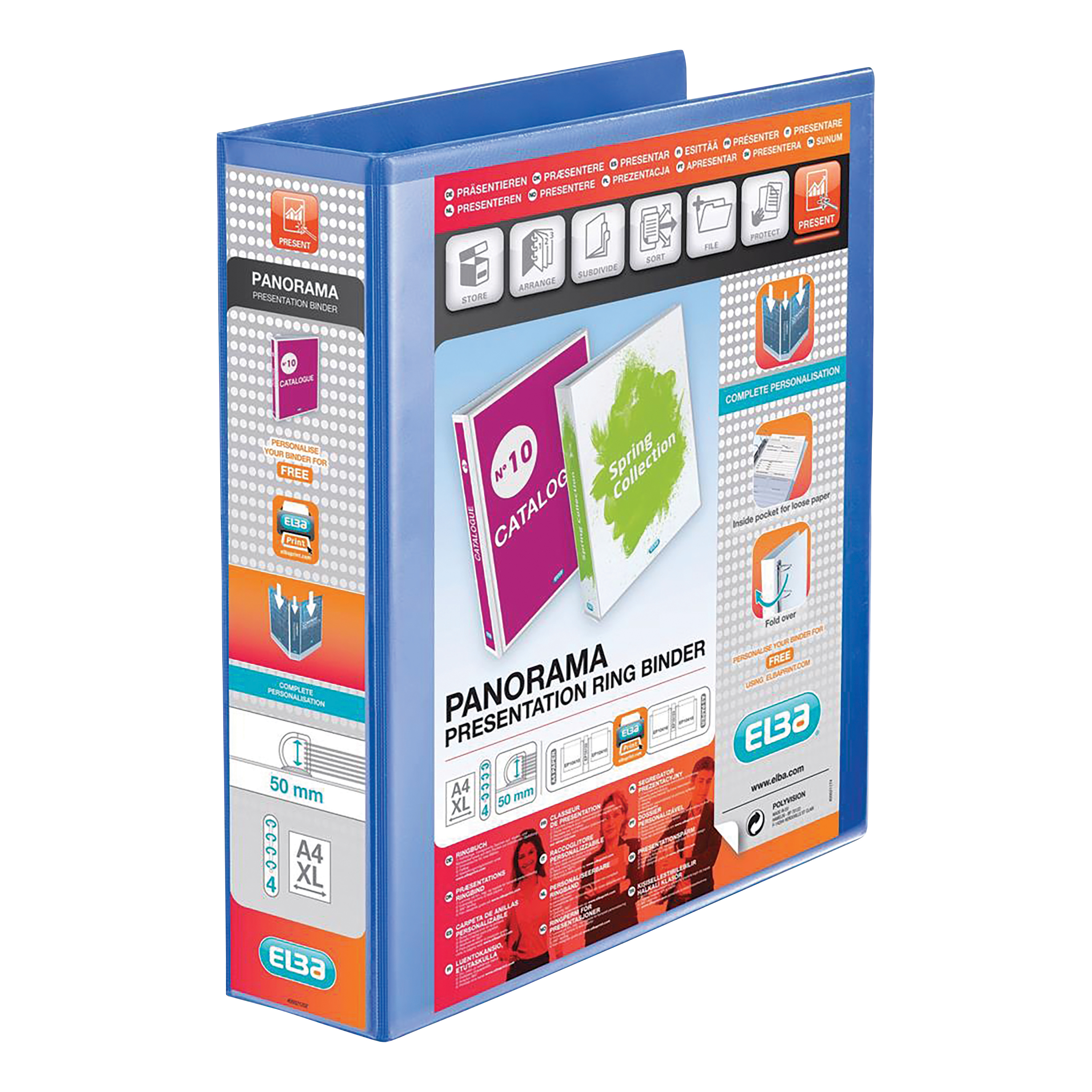 Elba Panorama Presentation Ring Binder PP 4 D-Ring 50mm Capacity A4 Blue Ref 400008431 [Pack 4]