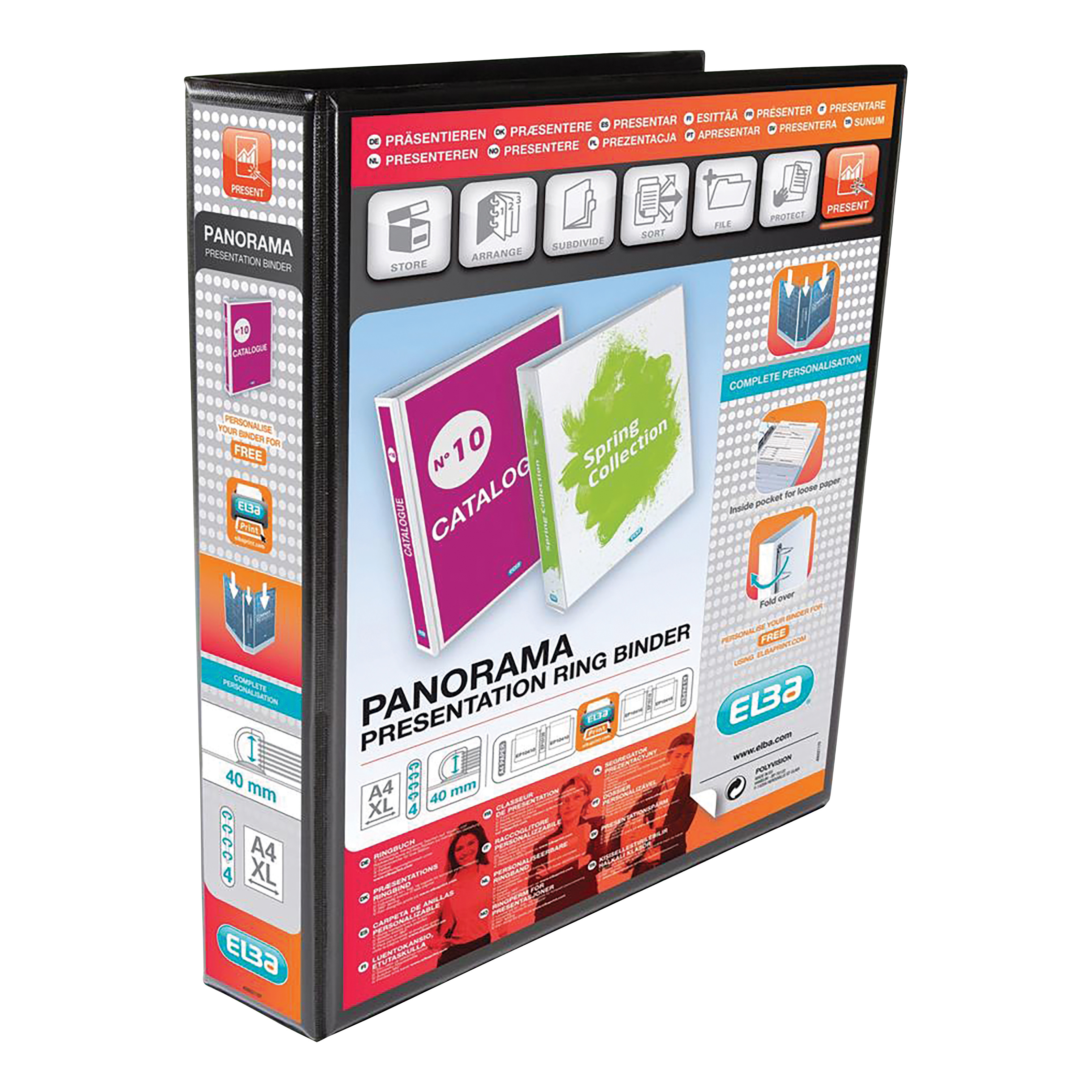 Elba Panorama Presentation Ring Binder PP 4 D-Ring 40mm Capacity A4 Black Ref 400008417 [Pack 6]