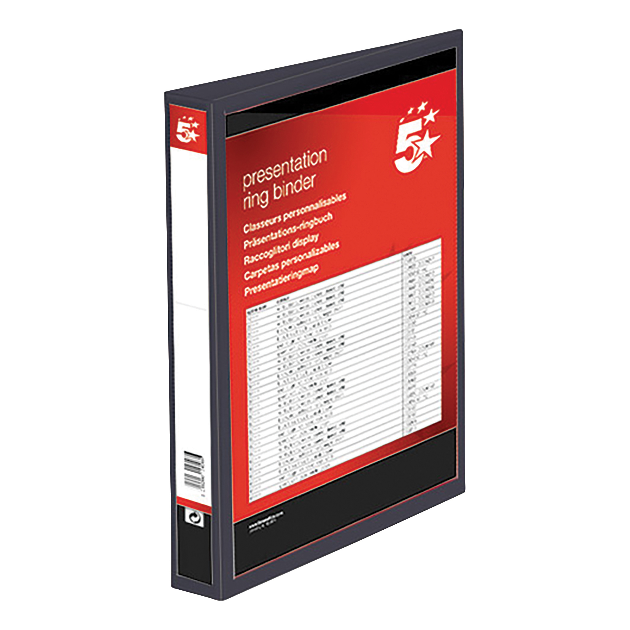 5 Star Office Presentation Ring Binder Polypropylene 4 D-Ring 38mm Size A4 Black [Pack 10]