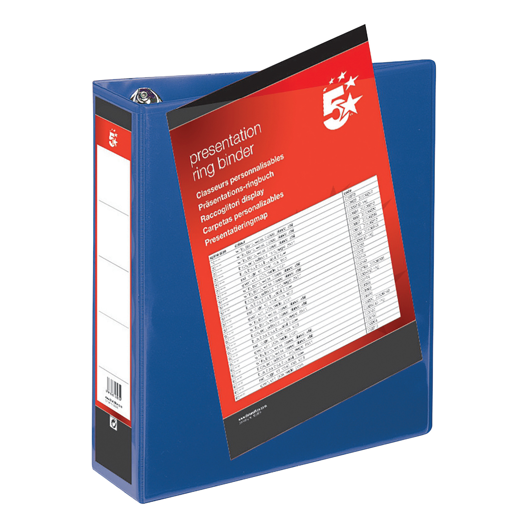 5 Star Office Presentation Ring Binder Polypropylene 4 D-Ring 65mm Size A4 Blue [Pack 10]