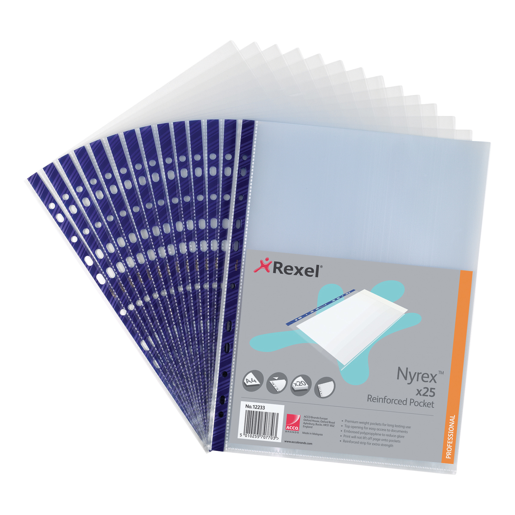 Rexel Nyrex Pocket Reinforced Blue Strip Top-opening 90 Micron A4 Clear Ref 12233 [Pack of 25]