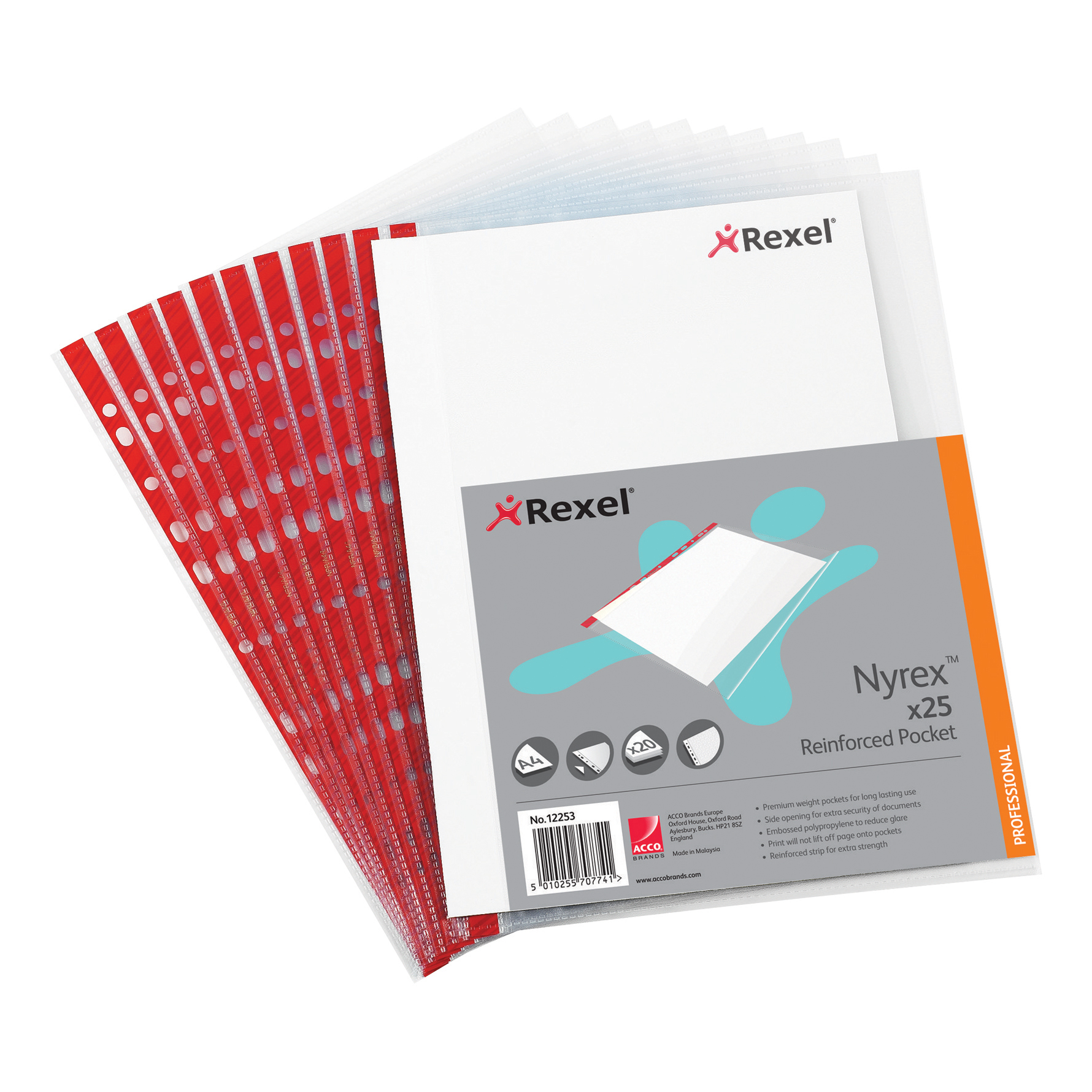 Plastic Pockets Rexel Nyrex Pocket Reinforced Red Strip Side-opening 85 Micron A4 Clear Ref 12253 Pack of 25
