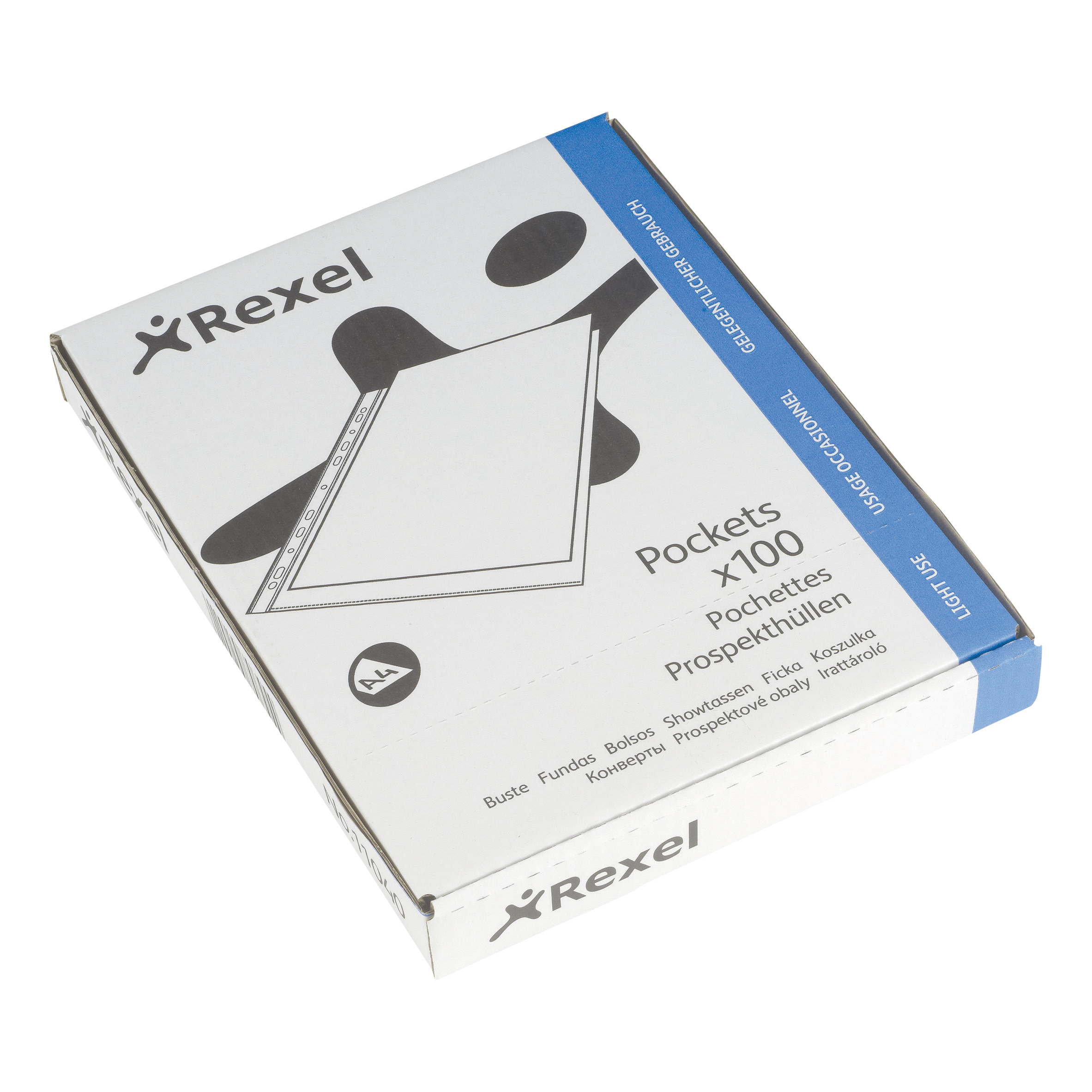 Plastic Pockets Rexel Superfine Pocket Multipunched Polypropylene Top-opening 43 Micron A4 Clear Ref 11040 Pack 100