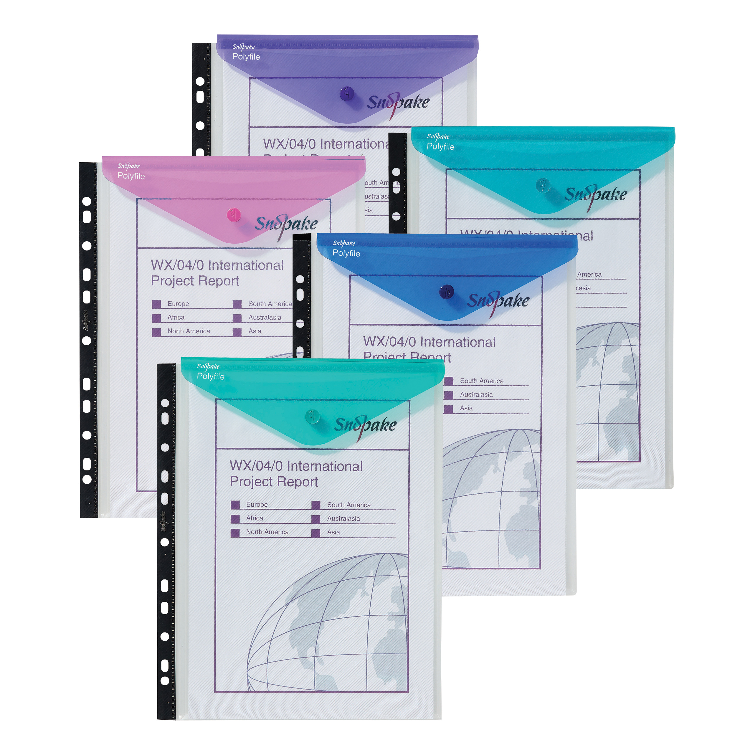 Snopake Polyfile Ring Binder Wallet High Capacity A4 Portrait Electra Assorted Ref 15695 Pack 5