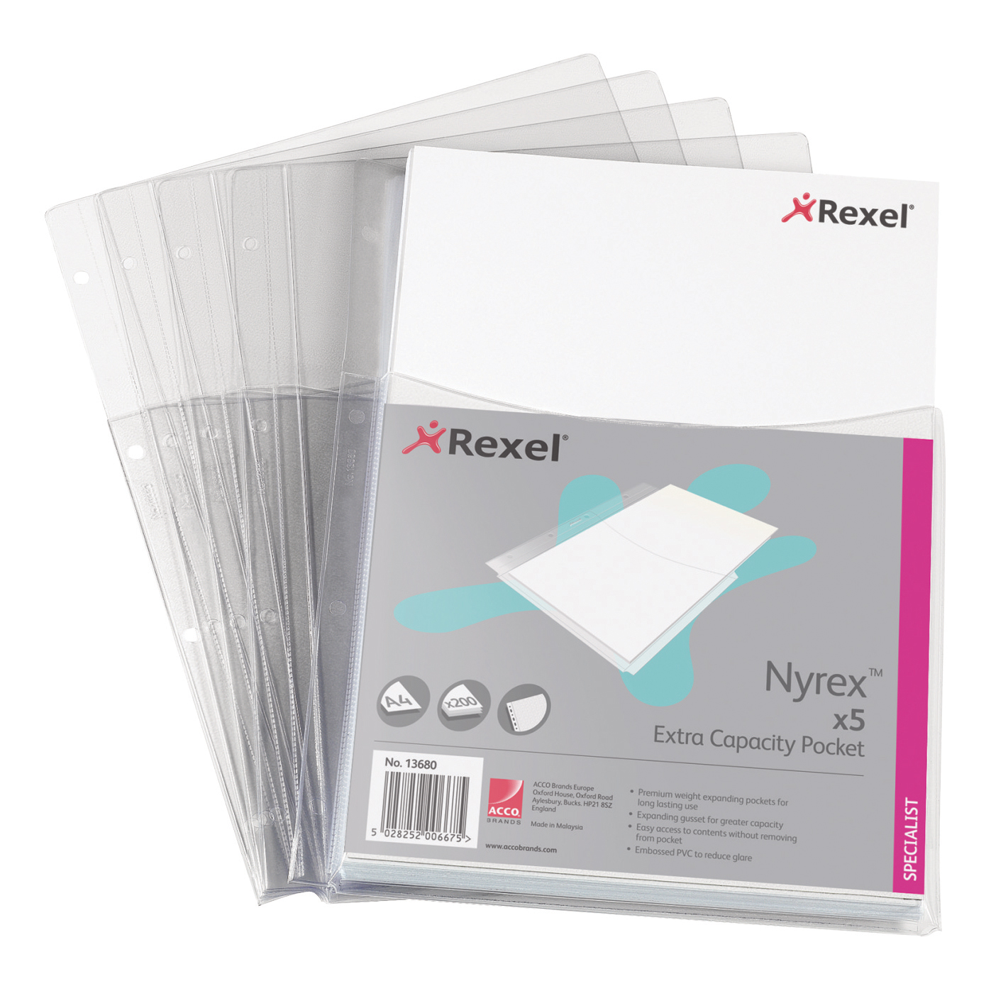 Rexel Nyrex Extra Capacity Pocket Punched PVC Half Size Top-opening 170 Micron A4 Ref 13680 [Pack 5]