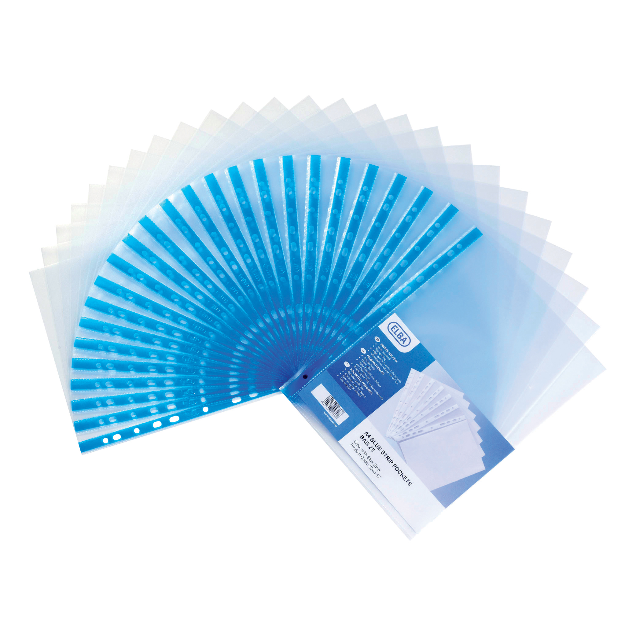 Elba Standard Pocket Polypropylene Blue Strip Top-opening 75 Micron A4 Clear Ref 400002150 [Pack 100]