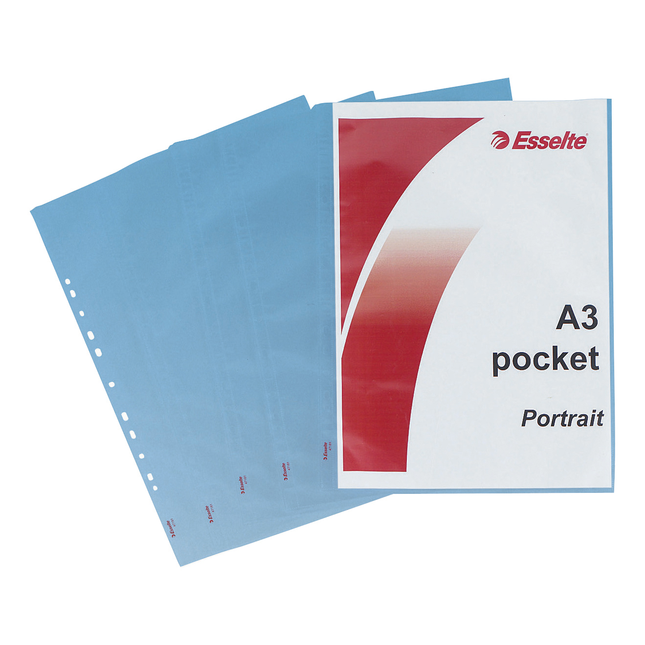 Esselte Punched Pocket Polypropylene Top-opening 85 Micron A3 Portrait Clear Ref 47181 [Pack 10]