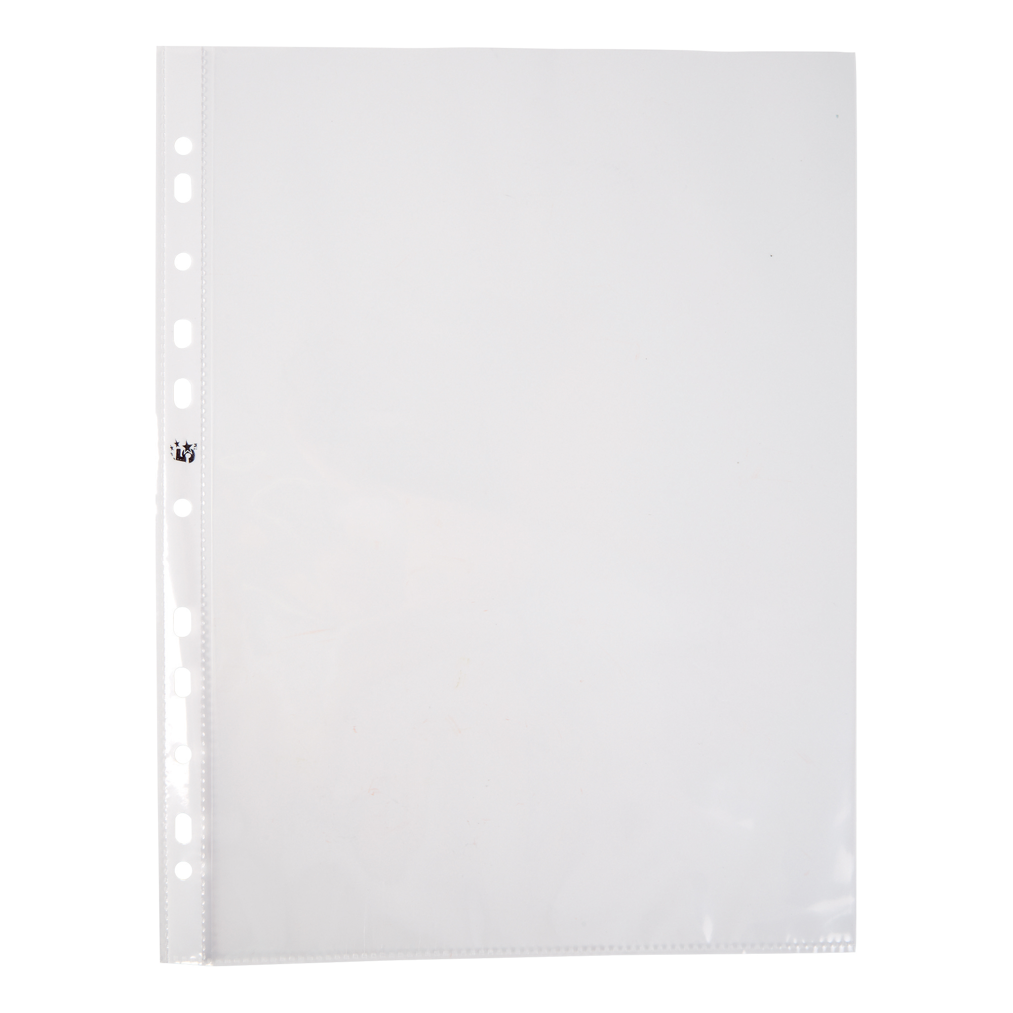 Plastic Pockets 5 Star Office Punched Pocket Polypropylene Top and Side-opening 50 Micron A4 Glass Clear Pack 100