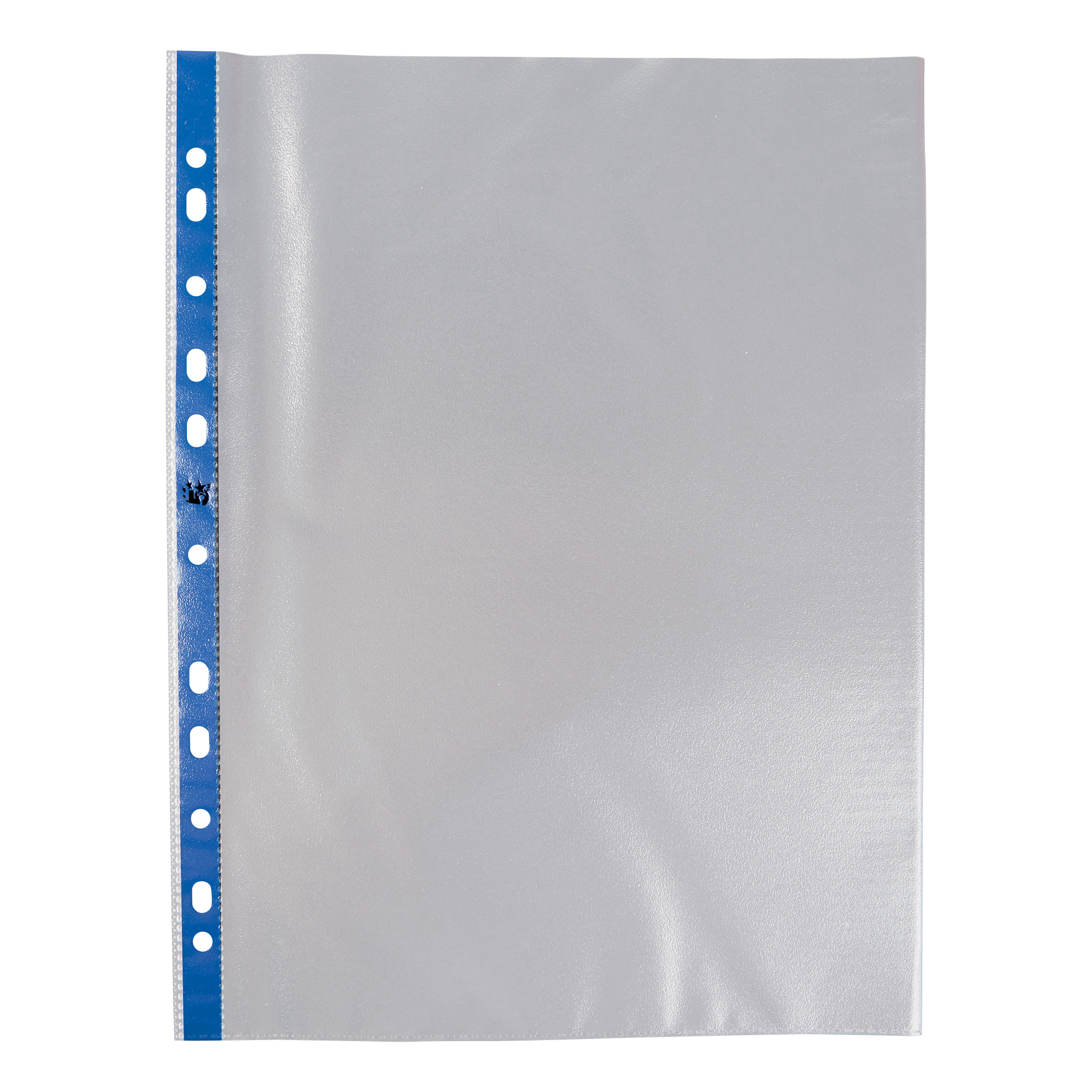 Image for 5 Star Office Punched Pocket Polypropylene Embossed Blue Strip Top-opening 60 Micron A4 Clear [Pack 100]