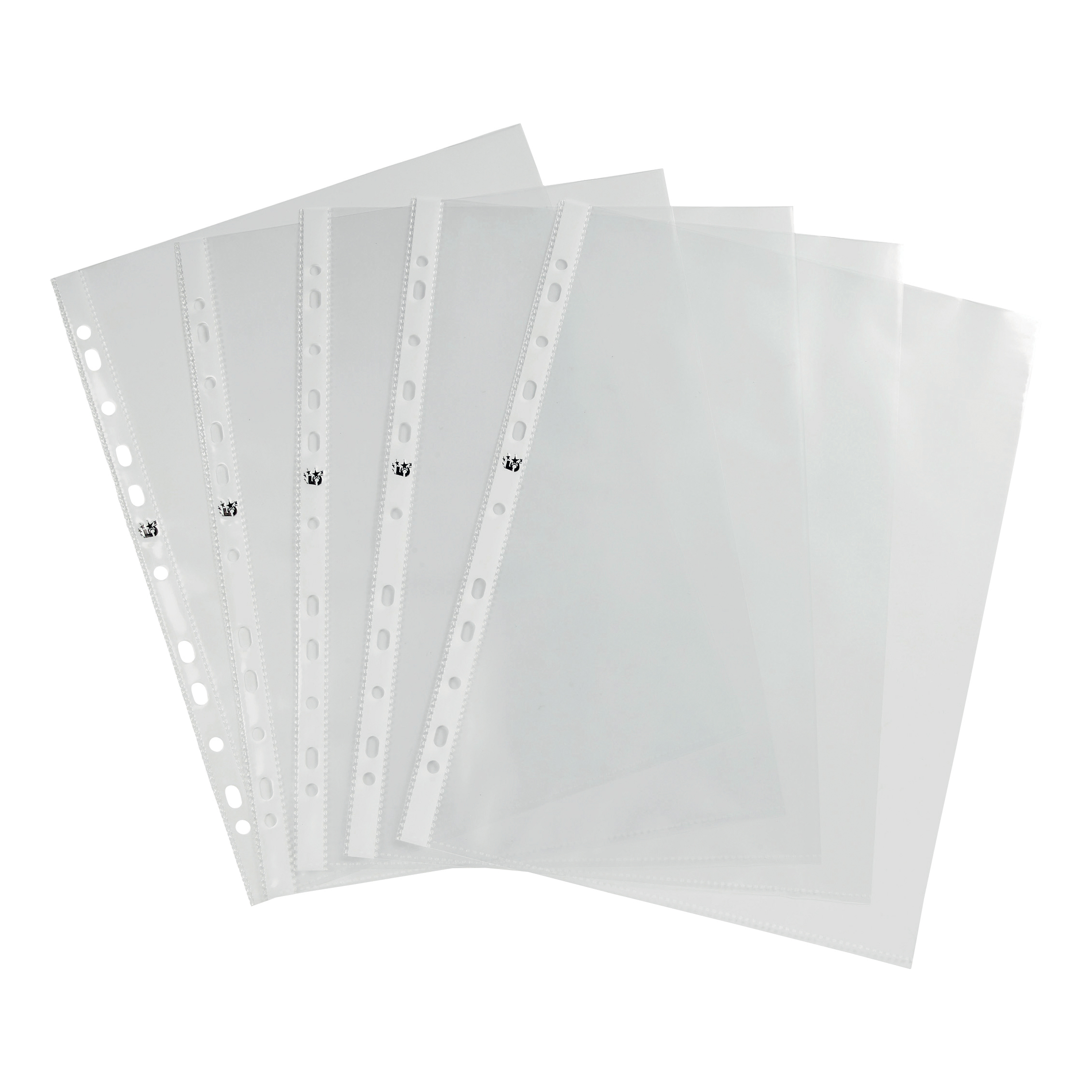 5 Star Office Punched Pocket Polypropylene Top-opening 70 Micron A4 Glass Clear [Pack 100]