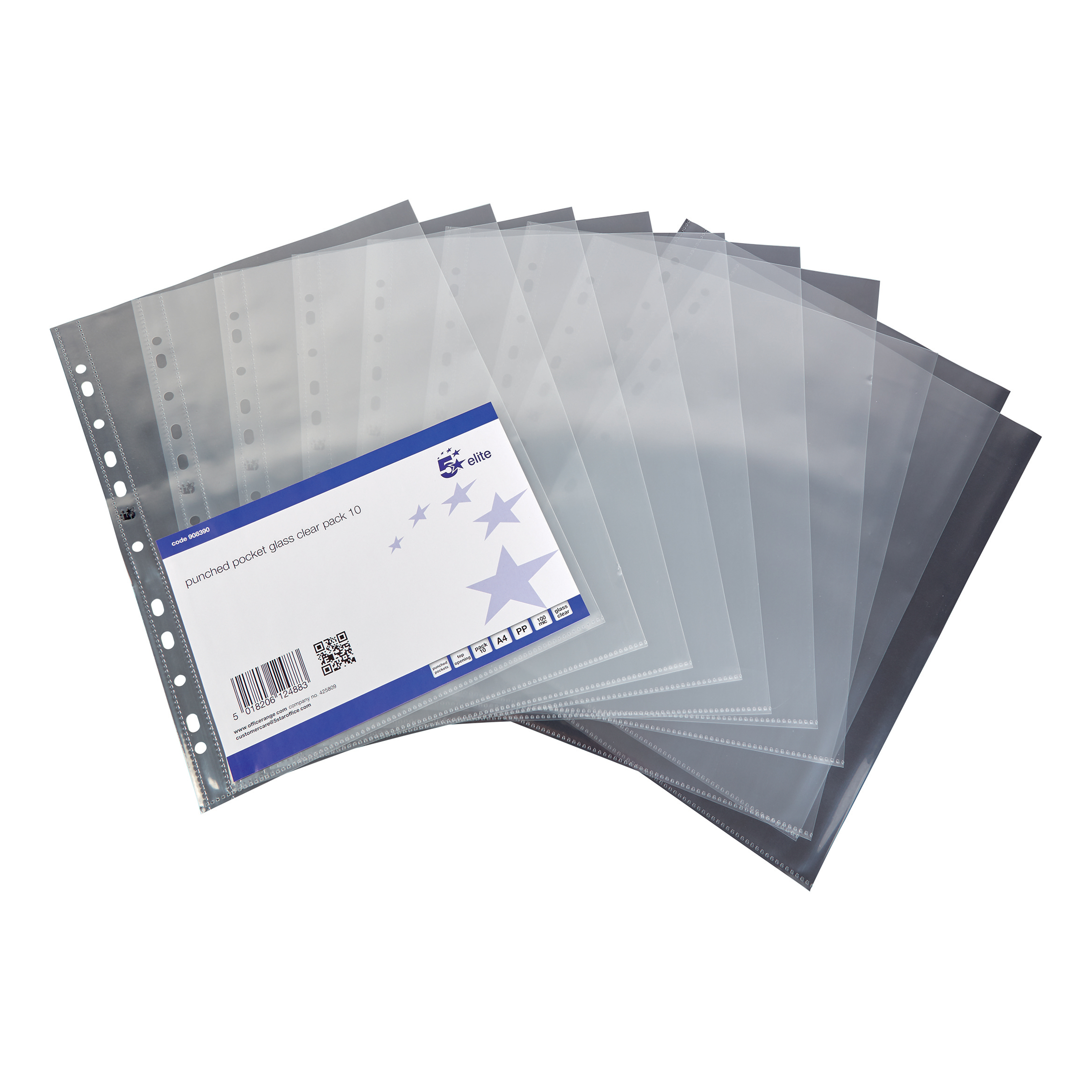5 Star Elite Presentation Punched Pocket Polypropylene Top-opening 100 Micron A4 Glass Clear [Pack 10]