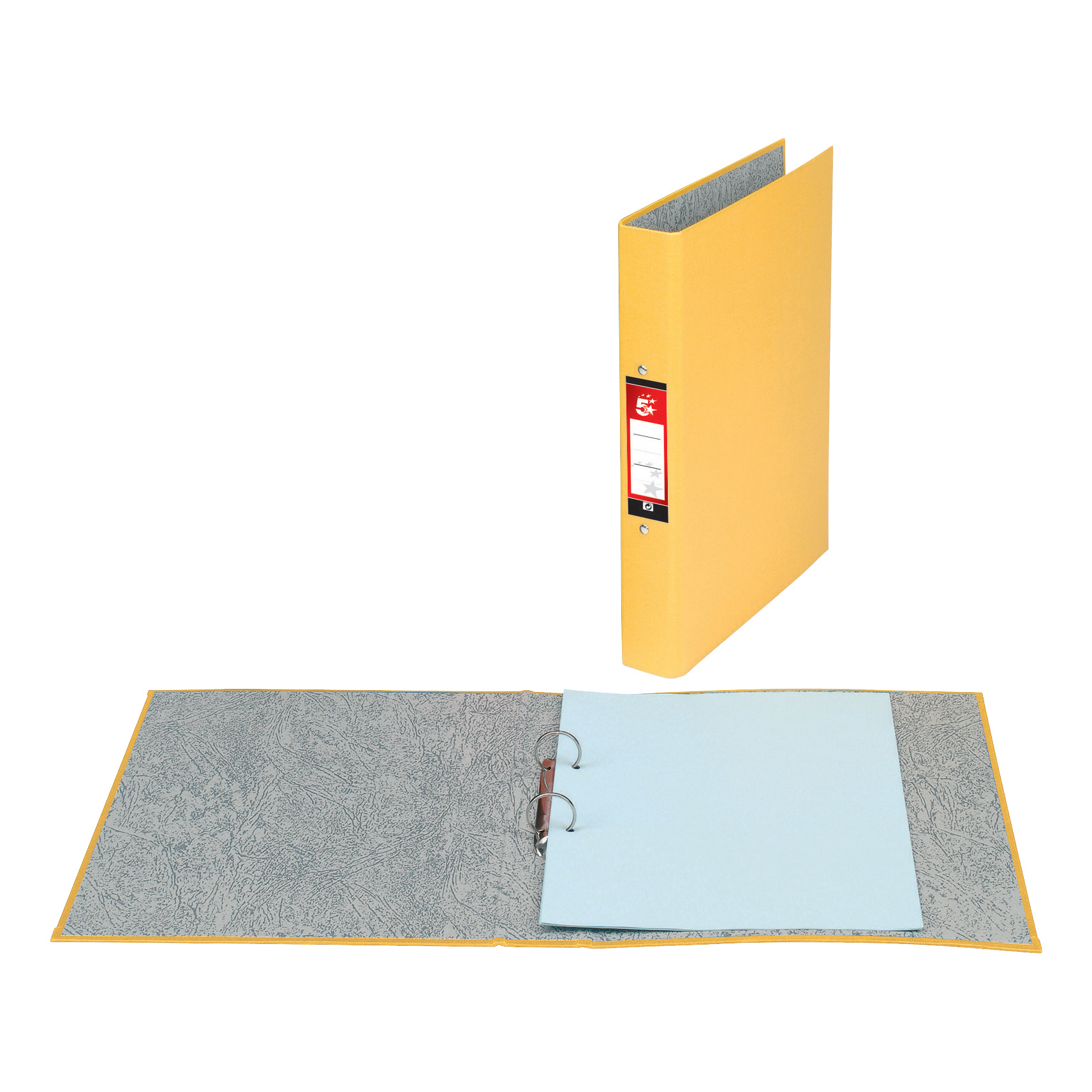 Ring Binders 5 Star Office Ring Binder 2 O-Ring Size 25mm Paper on Board A4 Yellow Pack 10