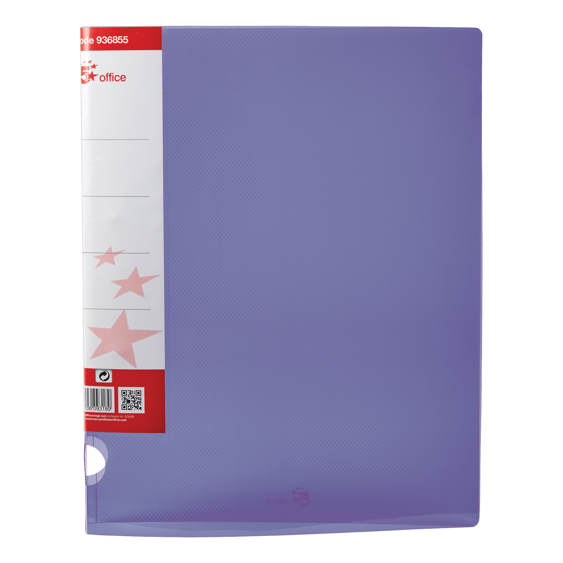 Ring Binders 5 Star Office Ring Binder 2 O-Ring Translucent Polypropylene A4 Purple Pack 10