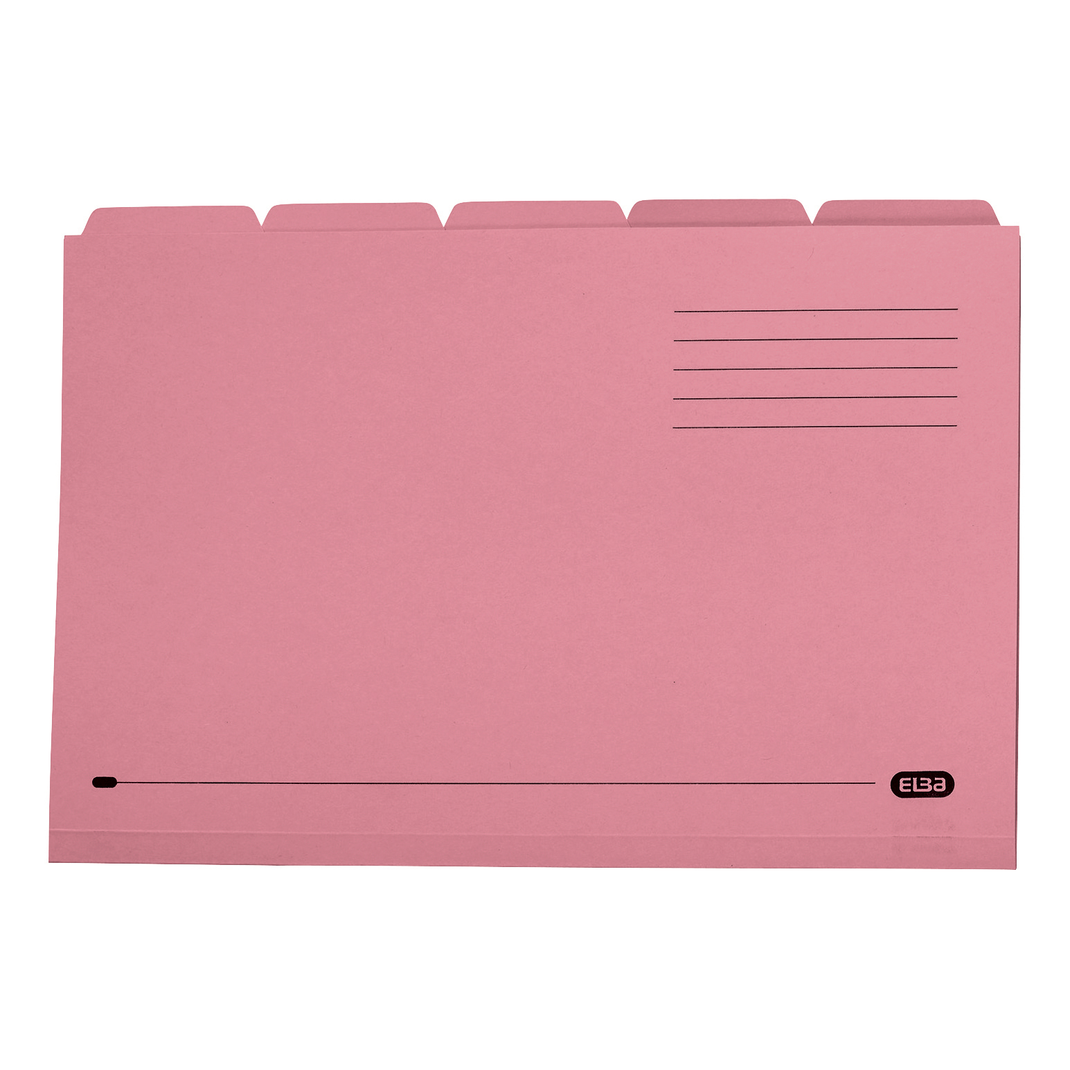 Elba Tabbed Folders Recycled Mediumweight 250gsm Manilla Set of 5 Foolscap Pink Ref 100090236 Pack 20