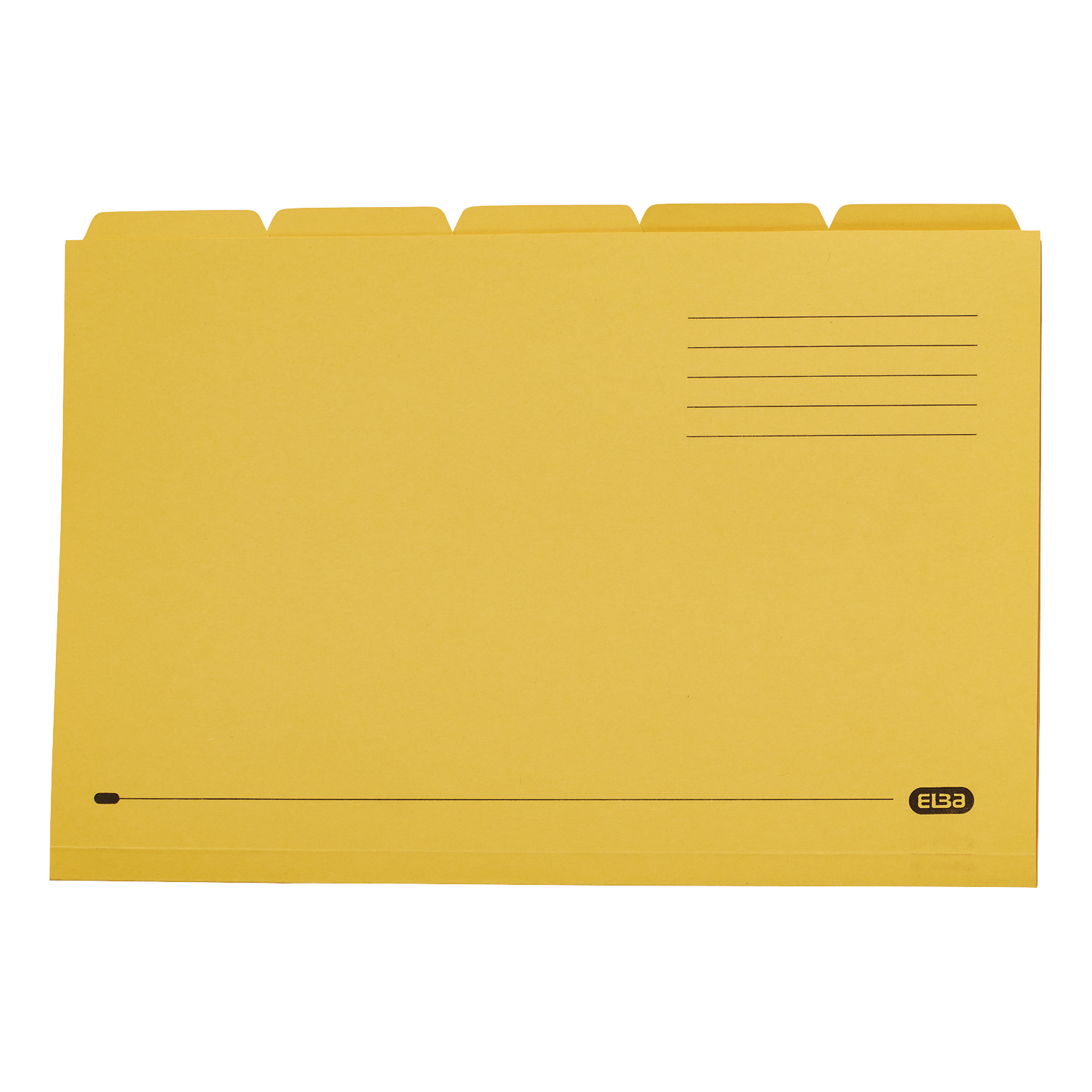 Elba Tabbed Folders Recycled Mediumweight 250gsm Manilla Set of 5 Foolscap Yellow Ref 100090237 [Pack 20]
