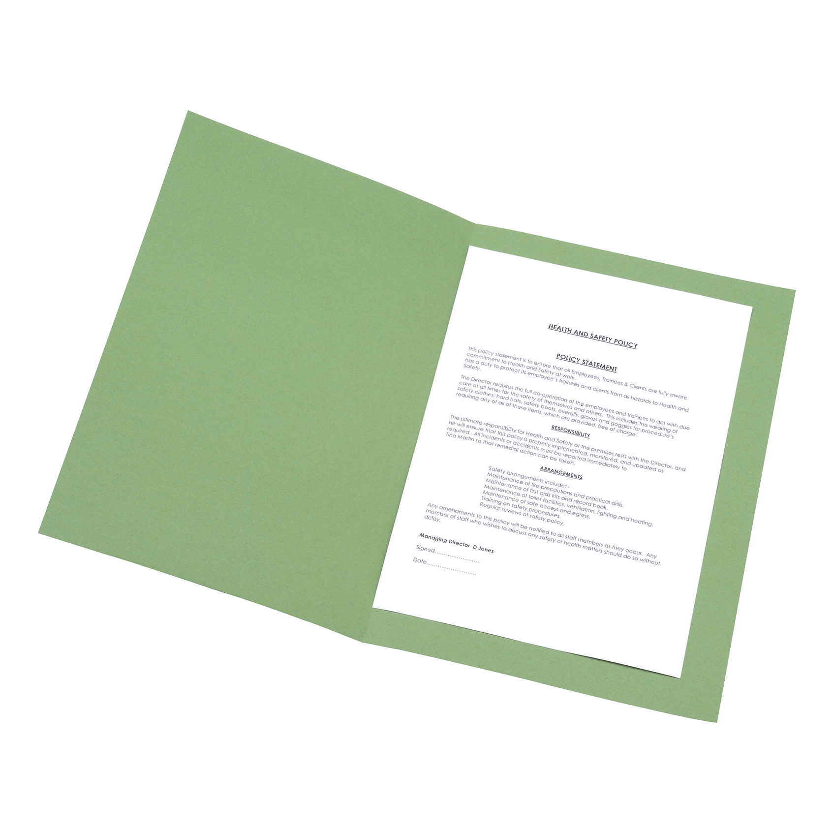 5 Star Office Square Cut Folder Recycled 250gsm Foolscap Green [Pack 100]