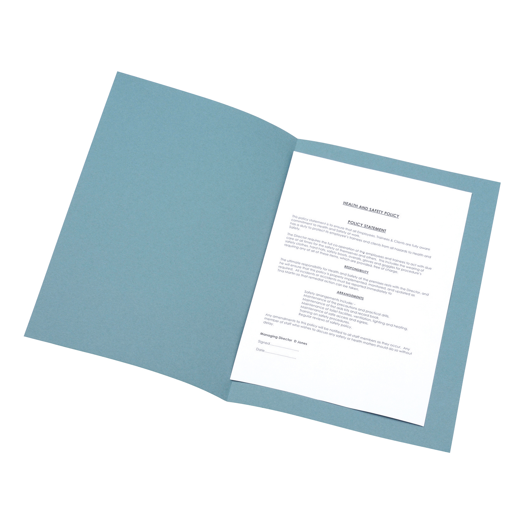 5 Star Office Square Cut Folder Recycled 180gsm Foolscap Blue Pack 100