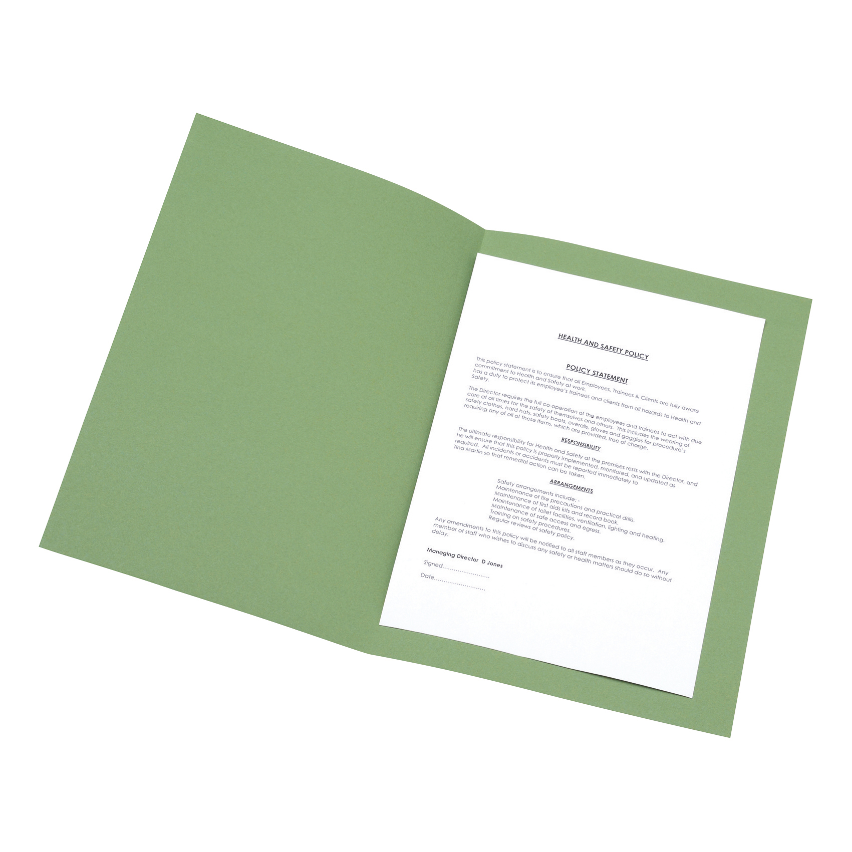 5 Star Office Square Cut Folder Recycled 180gsm Foolscap Green Pack 100