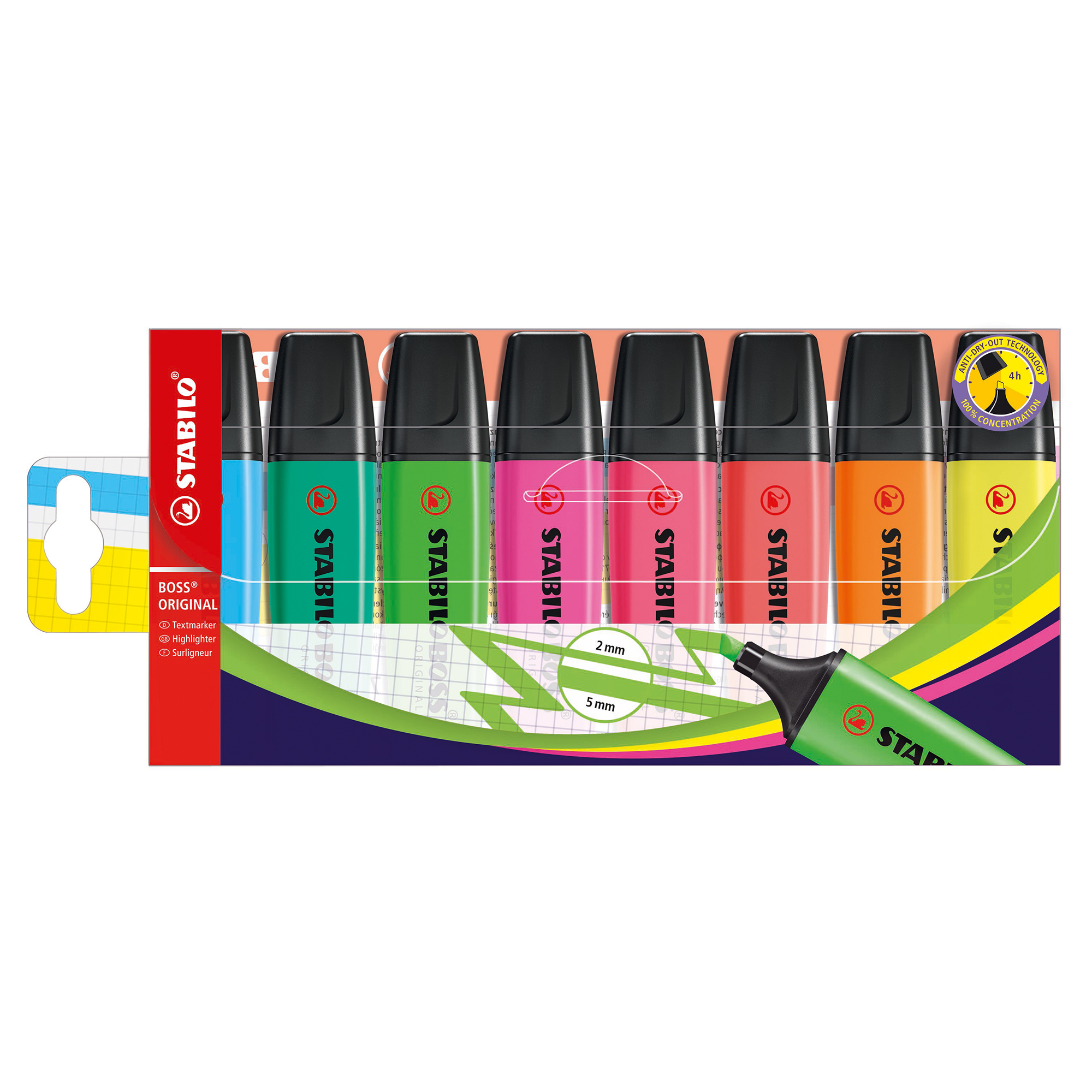 Highlighters Stabilo Boss Highlighters Chisel Tip 2-5mm Line Wallet Assorted Ref 70/8 [Pack 8]