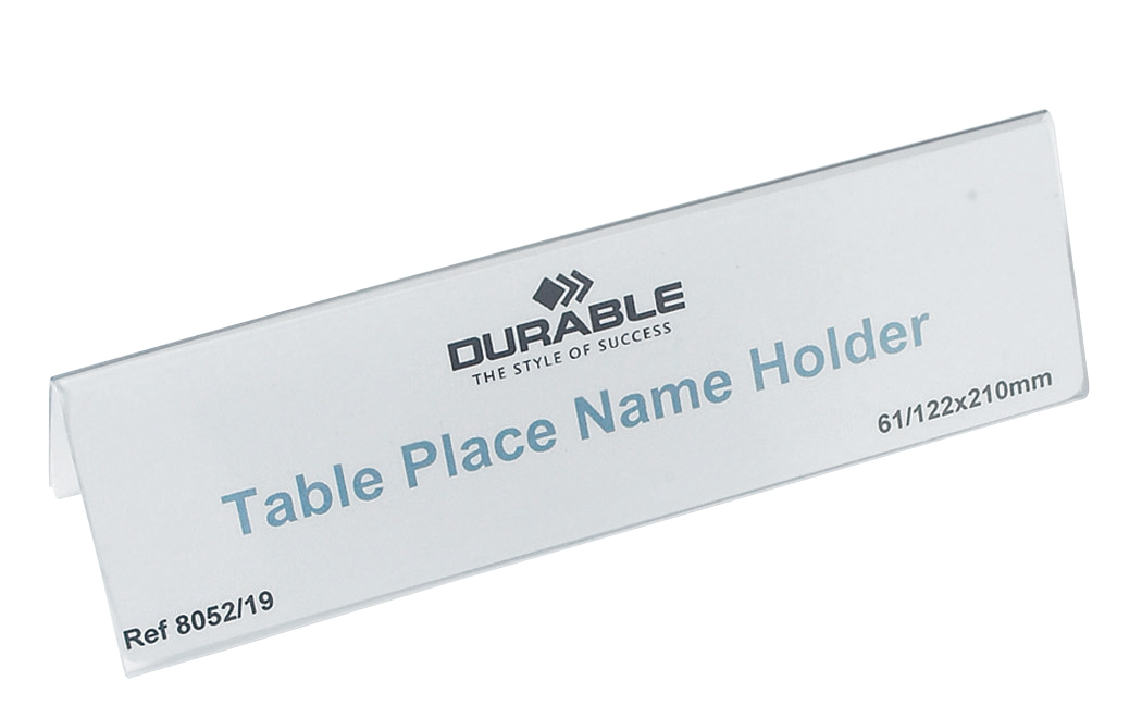 Durable Table Place Name Holder 61x210mm Ref 8052 [Pack 25]