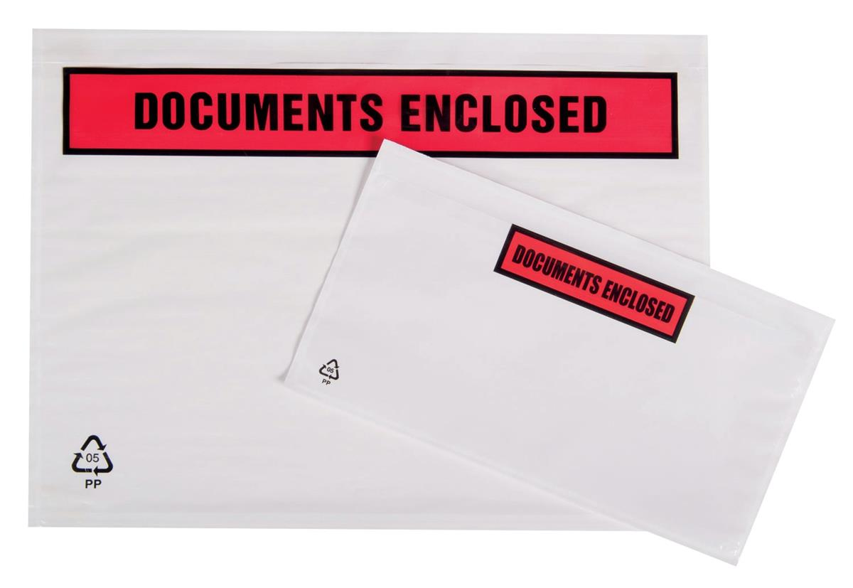 Image for Packing List Envelopes Polythene A7 Documents Enclosed [Pack 250]