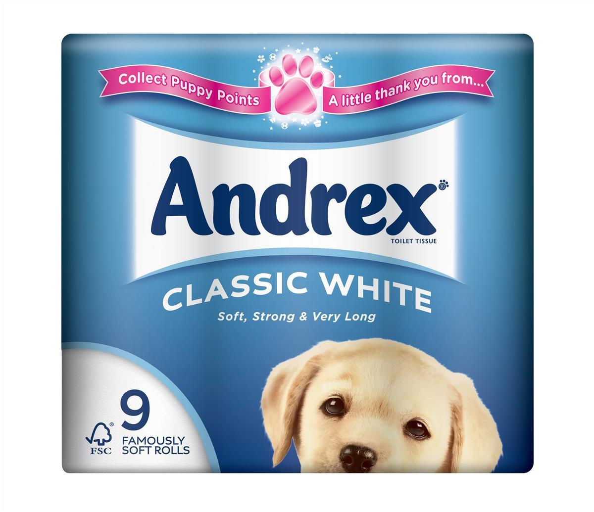 Image for Andrex Toilet Rolls 2-Ply 240 Sheets Classic White Ref 1102055 [Pack 9]