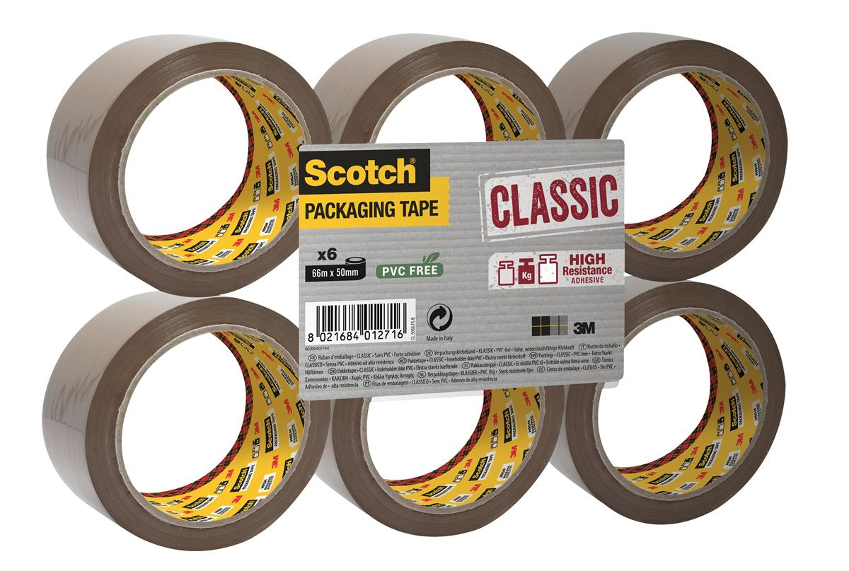 Image for Scotch Classic Packaging Tape W50mmxL66m Buff Ref CL5066F6B [Pack 6]