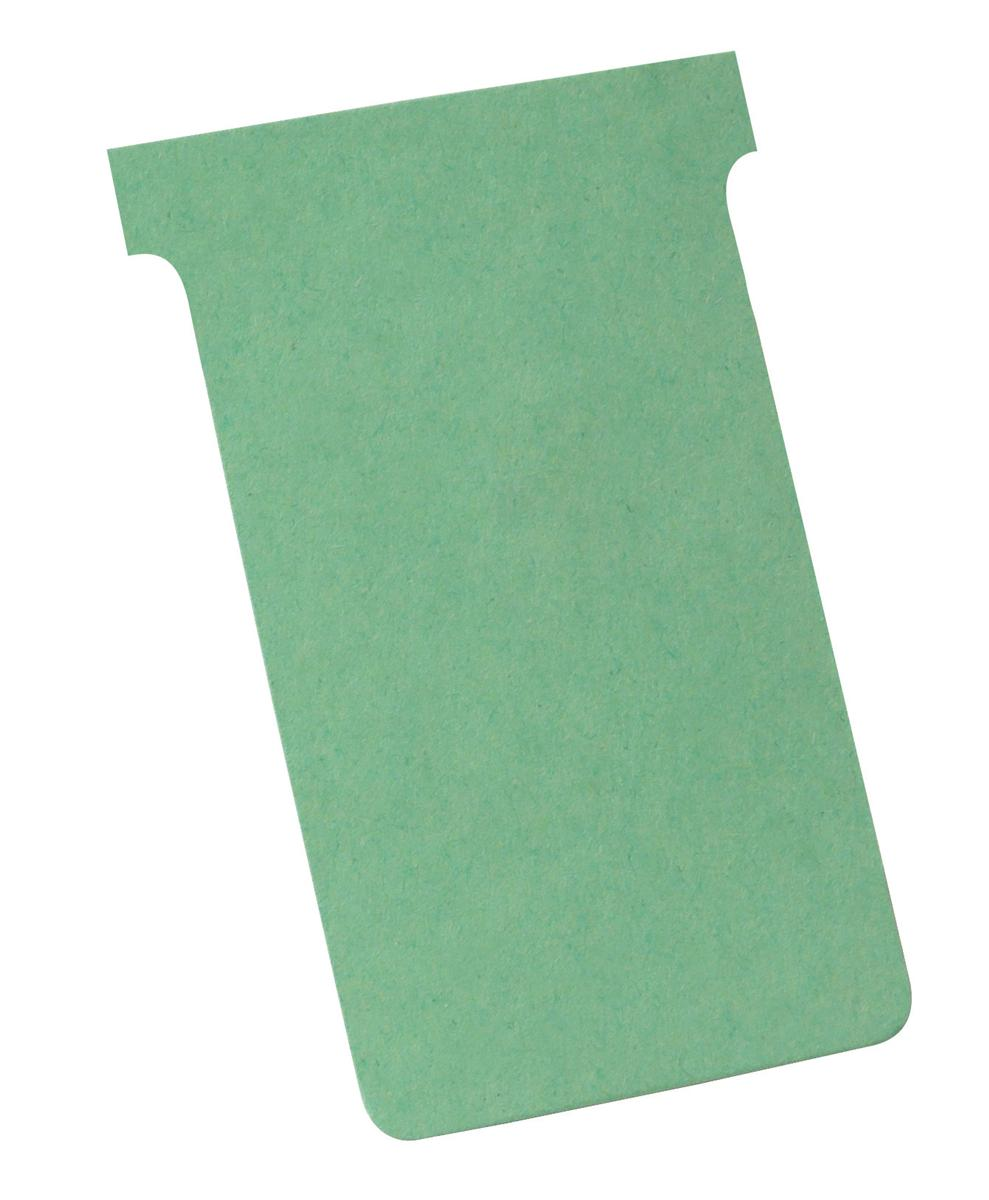 Image for Nobo T-Cards 160gsm Tab Top 15mm W124x Bottom W112x Full H180mm Size 4 Green Ref 32938924 [Pack 100]