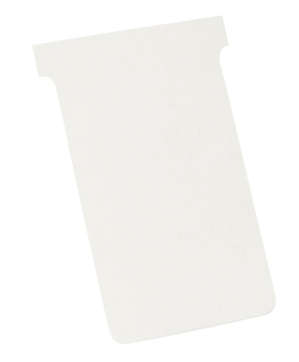 Image for Nobo T-Cards 160gsm Tab Top 15mm W124x Bottom W112x Full H180mm Size 4 White Ref 2004002 [Pack 100]