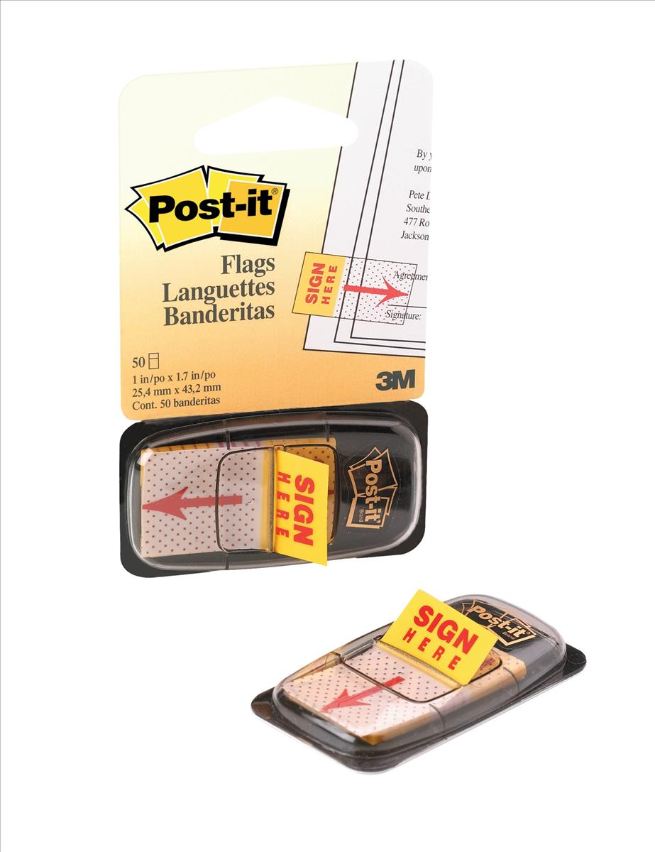 Image for Post-it Sign Here Index Flags W25mm Ref 680-9 [Pack of 50]