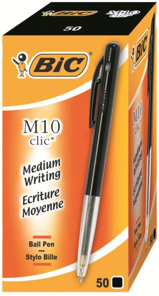 Bic M10 Clic Ball Pen Retractable 1.0mm Tip 0.3mm Line Black Ref 1199190125 [Pack 50]