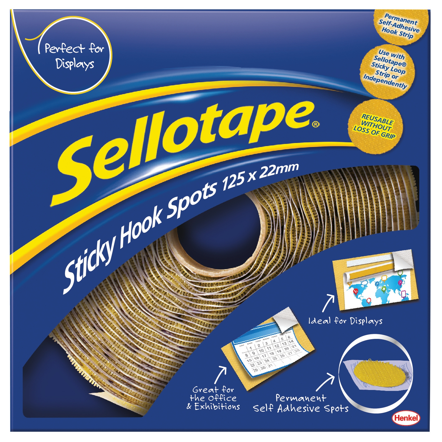 Image for Sellotape Sticky Hook Spots in Handy Dispenser of 125 Spots Diameter 22mm Yellow Ref 1445185