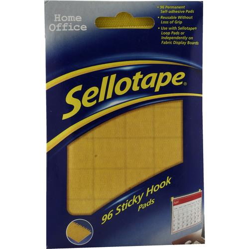 Image for Sellotape Sticky Hook Pads 96 Pads 20x20mm Yellow Ref 504050