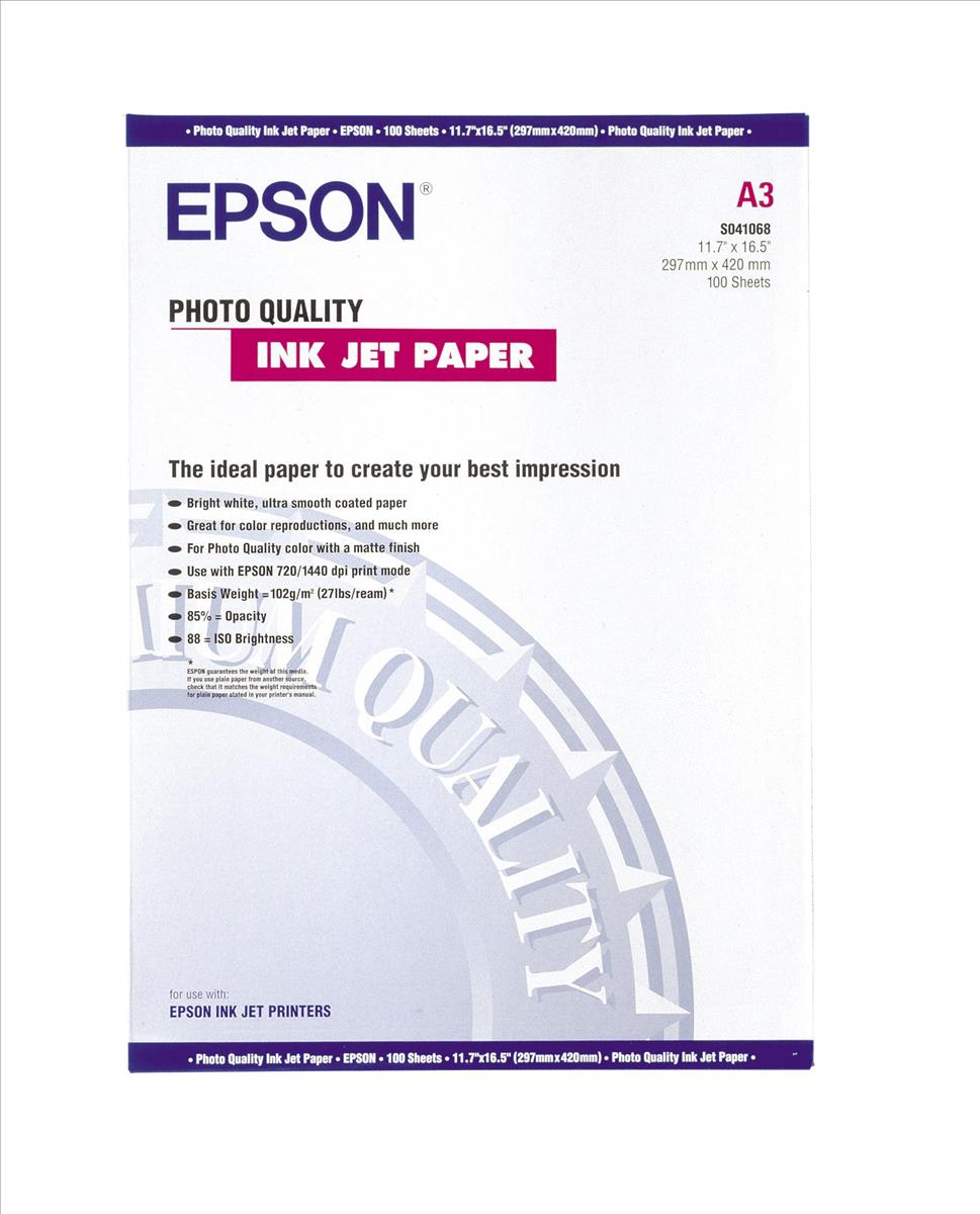 Image for Epson Photo Quality Inkjet Paper Matt 102gsm Max.1440dpi A3 Ref S041068 [100 Sheets]
