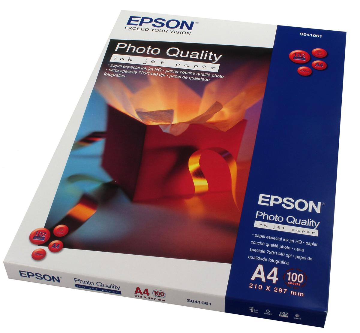 Epson Photo Quality Inkjet Paper Matt 104gsm Max.1440dpi A4 Ref S041061 [100 Sheets]