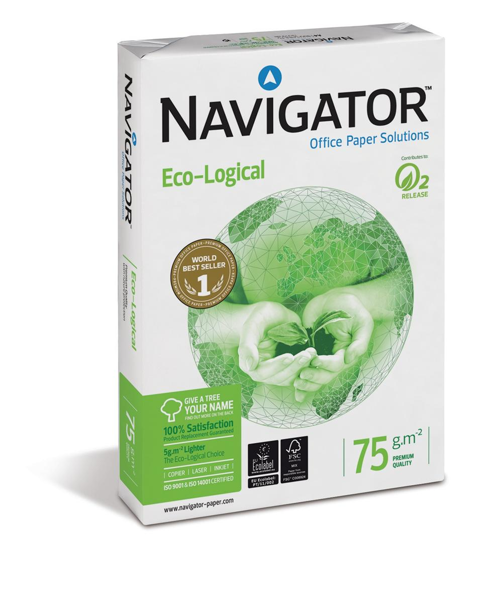 Image for Navigator Eco-logical Paper FSC Ream-Wrapped 75gsm A4 Bright White Ref NEC0750012 [5 x 500 Sheets]