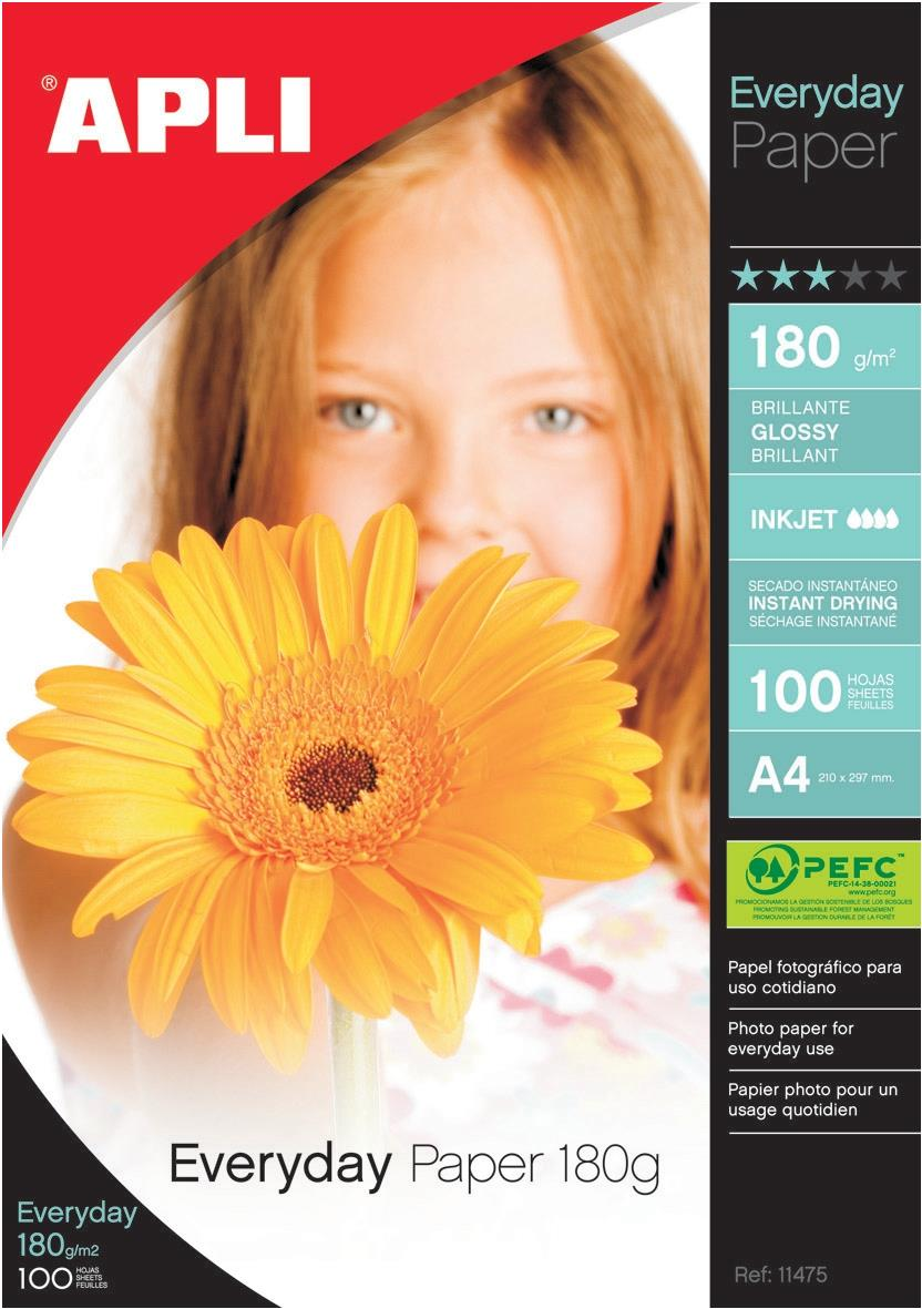 Image for Apli Everyday Paper Glossy 180gsm A4 Ref 11475 [100 Sheets]