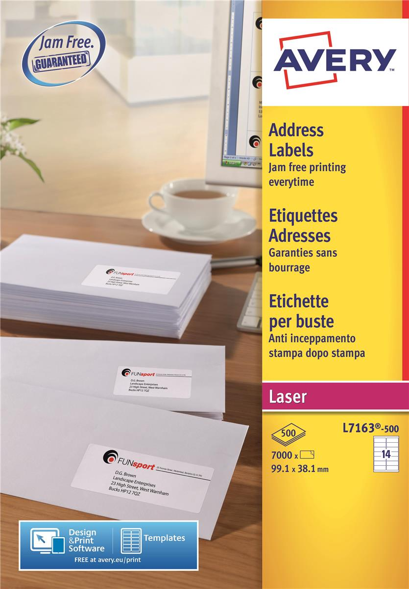 Image for Avery Addressing Labels Laser Jam-free 14 per Sheet 99.1x38.1mm White Ref L7163-500 [7000 Labels]