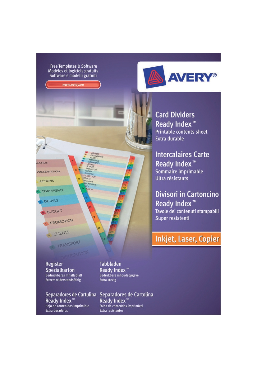 Image for Avery ReadyIndex Dividers Mylar Tabs A4 1-10 Ref 01735501 L7411-5
