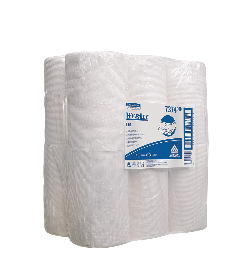 Wypall L10 Centrefeed Wiper Roll 200 Sheets of 185x380mm White Ref 7374 [Pack 12]