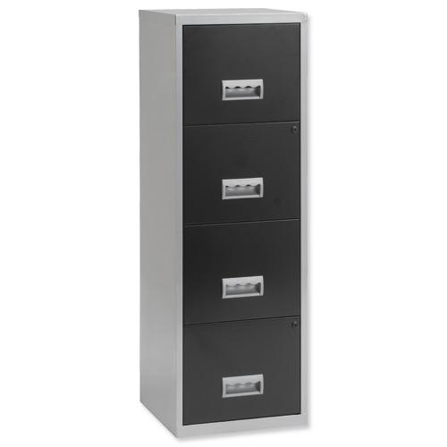 Image for Pierre Henry Filing Cabinet Steel Lockable 4 Drawers A4 Silver and Black Ref 095809