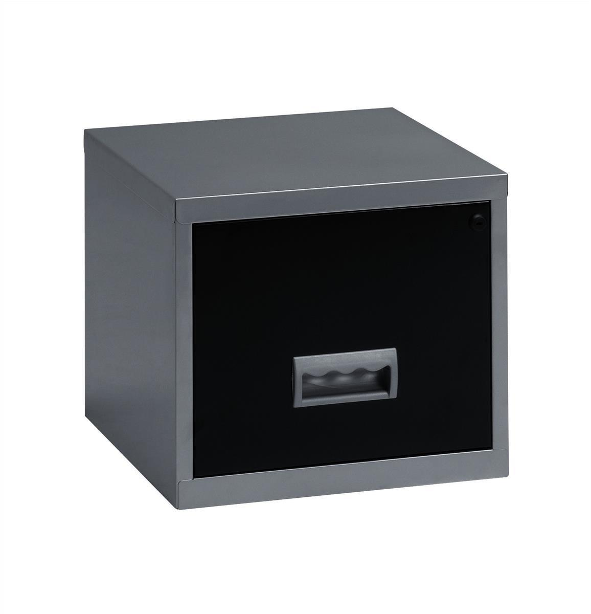 Image for Pierre Henry Filing Cabinet Steel Lockable 1 Drawer A4 Silver and Black Ref 099071